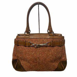 Coach Brown Orange Tweed Fabric Suede Leather Bag
